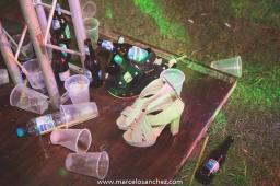 Zapato de novia en una fiesta de casamiento